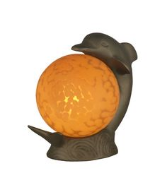 Lighting New York | Dale Tiffany Dolphin Accent Lamp 1 Light in Antique Brass Plating 1610