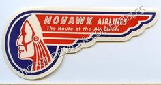 """Vintage AIRLINE T-SHIRT MOHAWK AIRLINES /""""THE ROUTE OF THE AIR CHIEFS/"""""""