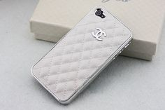 Cute Silver LOGO CC iPhone Case //  White Leather Case// by YeonS, $12.69