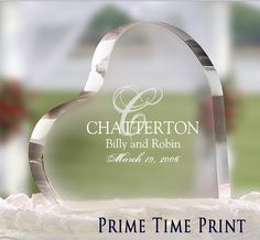 Wedding glass customized heart cake  topper