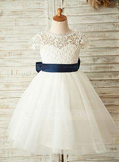 Corte A/Princesa Escote redondo Hasta la rodilla Tul Vestido de Damita de honor con Fajas Flores (009126267)