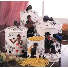 African Art For Kitchen Jazz Band 4 Pc Canister Set