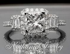 1 76 Ct Princess Cut Diamond Vintage Engagement Ring Solid 14k White Gold   eBay