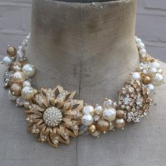 Pearl and rhinestone necklace...Crystal and rhinestone statement bib necklace (jewelry)