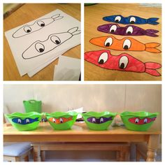 Ninja turtle birthday party **green bowls are from the dollar store. I printed a mask, traced it and colored them!