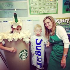 Starbucks Family - 2013 Halloween Costume Contest via Diy Baby Costumes, Purim Costumes, Clever Halloween Costumes, Creative Costumes, Halloween Costume Contest, Homemade Costumes, Family Costumes, Cute Costumes, Halloween Party