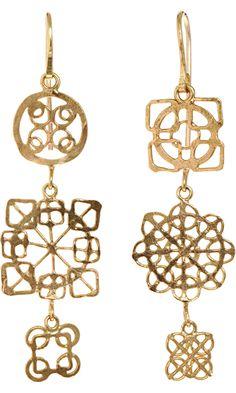 Judy Geib Gold Wheel Earrings
