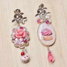 Cupcakes and Macarons Statement Earrings - romantic and whimsical jewelry - cupcake resin pendant, pink rose cabochon, rhodium floral studs on Etsy, $36.00