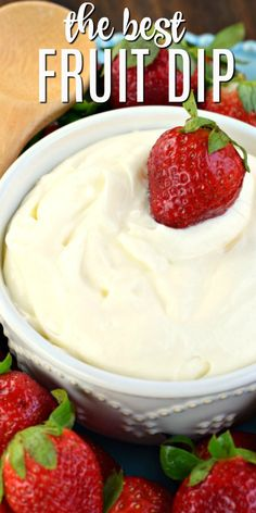 A sweet treat to serve with berries and… Three ingredient Cream Cheese Fruit Dip! A sweet treat to serve with berries and apples! Sweets Recipes, Fruit Recipes, Snack Recipes, Milk Recipes, Recipies, Strawberry Fruit Dips, Healthy Fruit Dips, Dip For Strawberries, Cream Cheese Strawberries