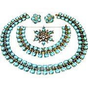 Vintage Trifari Sterling Necklace Bracelet Brooch Earrings Aquamarine Rhinestone Book AD Set