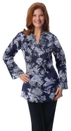 Collections Etc – Floral Garden Long-Sleeve Beaded Tunic Top « Clothing Impulse