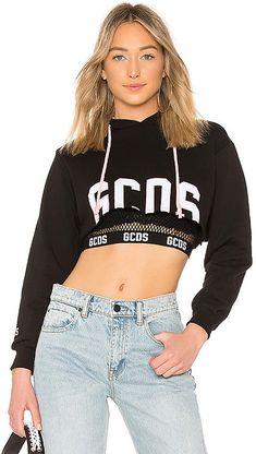 Shop for GCDS Logo Crop Hoodie in Black at REVOLVE. Cropped Hoodie, Zip Hoodie, Fashion Hub, Womens Fashion, Hoodies, Sweatshirts, Design Trends, Cute Outfits, Crop Tops