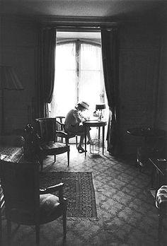 Coco Chanel at her desk (by Mark Shawn) #CocoChanel Visit espritdegabrielle.com | L'héritage de Coco Chanel #espritdegabrielle
