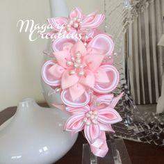 Diadema rosa venda de la muchacha Kanzashi flor por MagaroCreations