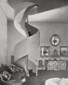 The original (much imitated) Le Corbusier Spiral staircase designed for aesthete Charles de Beistegui Paris, 1929. The #rococo furnishings add a #surreal touch (particularly on the rooftop terrace reached by the stairs.)