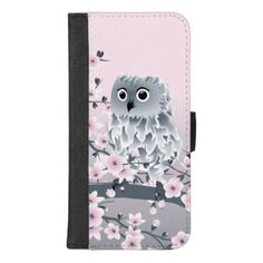 Cute Owl And Cherry Blossoms Pink iPhone 8/7 Plus Wallet Case - floral gifts flower flowers gift ideas