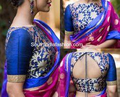 6 beautiful boat neck b blouse designs south india fashion Brocade Blouse Designs, Kerala Saree Blouse Designs, Brocade Blouses, Saree Blouse Neck Designs, Stylish Blouse Design, Fancy Blouse Designs, Designer Blouse Patterns, Brocade Saree, Boat Neck Designs Blouses