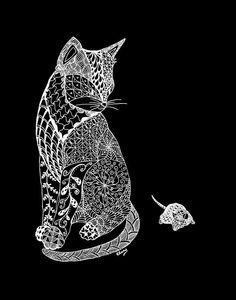 Zentangle Cat: white ink on black paper
