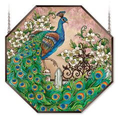 "MAJESTIC PEACOCK * JEWEL OF THE GARDEN MAGNOLIAS 22"" STAINED GLASS WINDOW PANEL  