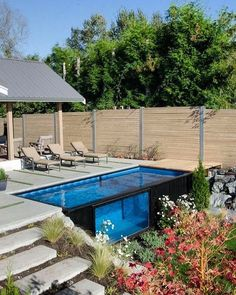 A beautiful house with a large swimming pool is something everyone dreams of once in a while. If the house is already checked from your list, all you need to do is take care of the swimming pool part. But what if a classical swimming pool is not an option Shipping Container Swimming Pool, Swiming Pool, Above Ground Swimming Pools, Swimming Pools Backyard, Swimming Pool Designs, In Ground Pools, Small Above Ground Pool, Small Swimming Pools, Large Backyard Landscaping
