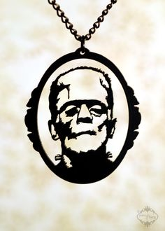 Frankenstein Monster inspired necklace in black stainless steel - horror movie psychobilly jewelry. $26.00, via Etsy.