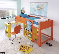 Ikea's Kura bed hack. I love the attached desk. | Big Kid Beds This would be awesome in pink and purple, and perfect for all her stuffed animals at the bottom and desk for doing homework!!