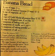 Classic Banana Bread ❤️ - Things I Love: Desserts Edition - Nut Bread Recipe, Easy Bread Recipes, Old Recipes, Banana Bread Recipes, Vintage Recipes, Cooking Recipes, Gold Medal Banana Bread Recipe, Pioneer Woman Sandwich Bread Recipe, Recipies