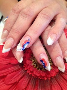 Edge nails with one stroke nail art.... isnt the shape crazy?!