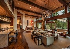 Warm modernism takes center stage in Martis Camp retreat – rustic home interior House Plans, Modern House Design, Home Builders, Home Interior Design, Rustic House, Interior, New Homes, Modern Mountain Home, House Interior