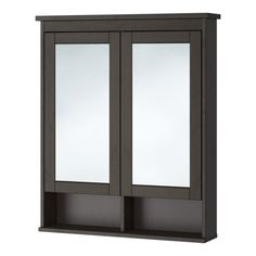 """Mail Bath IKEA - HEMNES, Mirror cabinet with 2 doors, black-brown stain, 32 5/8x6 1/4x38 5/8 """", , The adjustable shelf is extra heat- and impact-resistant and has a high load-bearing capacity since it is made of tempered glass.The mirror comes with safety film on the back, which reduces the risk of injury if the glass is broken."""