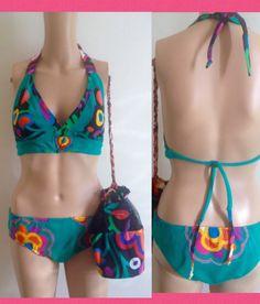 Stretch Knit Cotton Bikini with cotton trim An lotion Bag