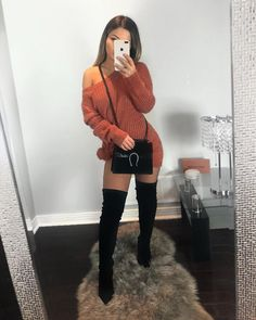 Black Dress Outfits, Winter Dress Outfits, Cute Fall Outfits, Sweater Dress Outfit, Girly Outfits, Tunic Sweater, Night Outfits, Chic Outfits, Sexy Outfits