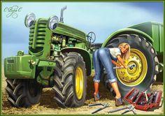 artist Olga and Aleksey Drozdov. The Di .- Come devonki … artist Olga and Aleksey Drozdov. The Discussion on Liveinternet – Russian Service Online Diaries - Old John Deere Tractors, Big Tractors, Farmall Tractors, Antique Tractors, Vintage Tractors, Tractor Decor, Farm Humor, Up Auto, Tractor Implements