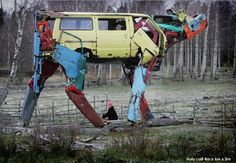 Helsinki-based sculptor Miina Äkkijyrkkä's recycles large metal pieces to create sculptures of farm animals