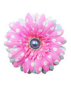 Look at this #zulilyfind! Pink Polka Dot Layered Daisy Clip #zulilyfinds