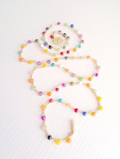 multicolored crochet necklace Rainbow wrap by theflowerdesign, $23.00