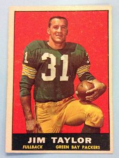 Vintage Football Card 1961 LSU and Green Bay Packer running back Jim Taylor