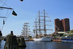 Baltimore inner harbor.  Tall ships