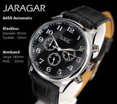 Zegarek JARAGAR czarny mechanicznie nakręcany Black Leather Watch, Leather Watch Bands, Mechanical Hand, Mechanical Watch, Vintage Watches For Men, Vintage Men, Omega Watch, Rolex Watches, Stuff To Buy