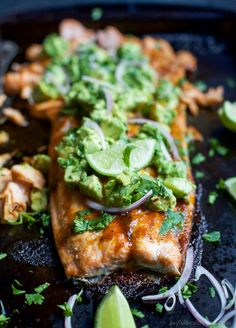 You Have Meals Poisoning More Normally Than You're Thinking That Paleo Baked Salmon That's Rubbed Down With A Sweet and Spicy Spice Blend Then Topped With A Fresh Zesty Avocado Salsa This Easy Healthy Recipe Is Done In Less Than 30 Minutes Healthy Salmon Recipes, Fish Recipes, Seafood Recipes, Paleo Recipes, Cooking Recipes, Seafood Dishes, Dinner Recipes, Paleo Meals, Fish Dishes