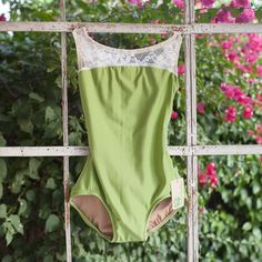 White lace leotard with apple green base for dancer and ballerinas from luckyleo dancewear