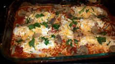 Smothered Venison Mannicotti.  Cook 1 lb. ground venison in pan with tsp.parsley, few dashes black pepper, cumin, season salt, diced onion, curry, Texas Pete (optional) a few dashes, oregano and 1/2 tsp. Pamintoes. 1 cup Ricotta / Cottage cheese, shredded cheese and 1/2 cup parmesan cheese. 1 egg. Mix well. 6-10 Mannicotti shells. Cook separate 9-10 minutes until aldenté. Drain water, stuff with meat mixture and place in 9x12 Pyrex dish. Take 1 large jar spaghetti sauce ( your favorite)…