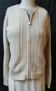 LIz Claiborne Size Small Oatmeal Cable Knit Cardigan Sweater Zipper 100% Cotton #LizClaiborne #Cardigan #casual