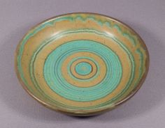 Mod Vintage Glidden Mesa Green Fong Chow Art Pottery Bowl Concentric Rings 4013 | eBay