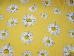 Silky Satin Large Daisy Lemon Floral Fabric. Great for: Blouses, dresses, lingerie, pyjamas, kaftans and much more … WeaverDee.com
