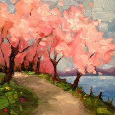 """Cherry blossoms"" - Original Fine Art for Sale - © by Krista Eaton"