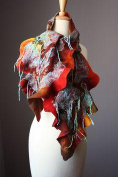 Nuno Felted scarf Wool cotton fringe handdyed by VitalTemptation, $135.00