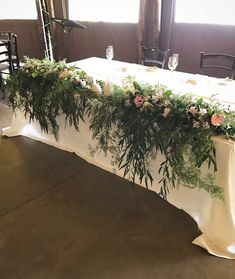 A dramatic main table design with lots of beautiful cascading greenery. Designed by Bliss Floral Creations Personalized Wedding, Greenery, Bliss, Floral Design, Table Decorations, Beautiful, Home Decor, Floral Patterns, Interior Design