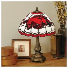 Arkansas Razorback Stained Glass Table Top Lamp