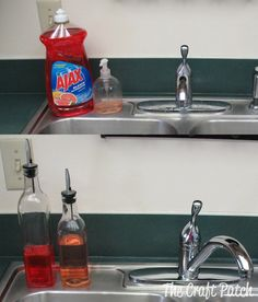 great idea. simple kitchen glam-up. soap into oil dispensers. get rid of ugly plastic bottles. just wouldn't do it for handsoap, cuz i don't want to have to touch the dispenser when my hands are covered in raw food.